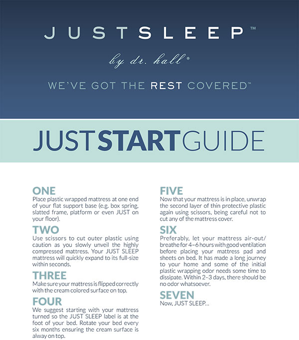 Just Sleep Mattress Start Guide